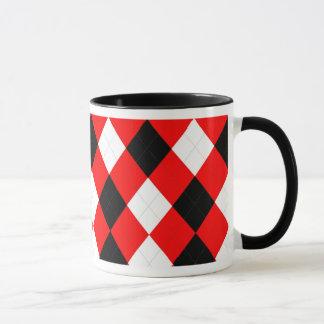Negro blanco rojo del KRW Argyle Taza