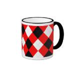 Negro blanco rojo del KRW Argyle Taza A Dos Colores