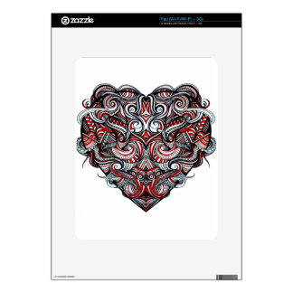 Negro blanco rojo en forma de corazón del extracto iPad skins