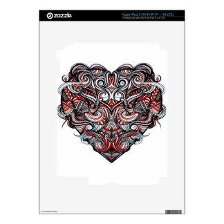 Negro blanco rojo en forma de corazón del extracto pegatinas skins para iPad 3