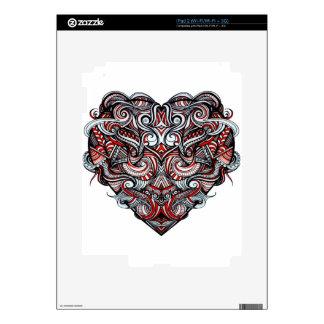 Negro blanco rojo en forma de corazón del extracto skins para eliPad 2