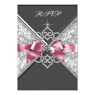 Negro blanco RSVP del rosa de los diamantes Invitación 8,9 X 12,7 Cm