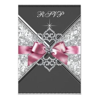 Negro blanco RSVP del rosa de los diamantes Anuncios Personalizados