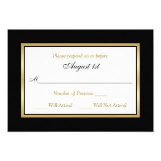Negro blanco tarjeta de RSVP del oro