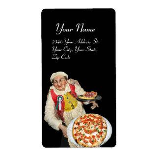 Negro blanco verde rojo de la PIZZA ITALIANA Etiqueta De Envío
