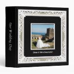 Negro, blanco y álbum del boda del marco de la fot