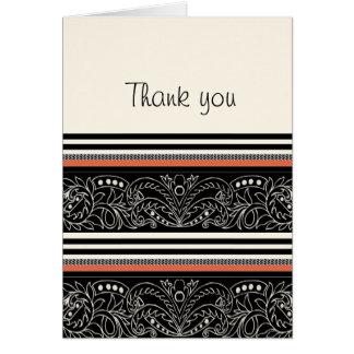 Negro, blanco y diseño moderno anaranjado de la fr tarjeta de felicitación
