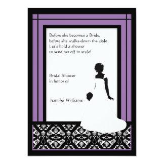 """Negro, blanco y ducha nupcial del damasco púrpura invitación 5.5"""" x 7.5"""""""