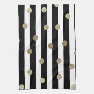 Negro, blanco y punto y raya del oro toalla