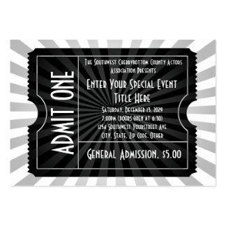Negro + Boleto blanco del acontecimiento, tamaño Tarjetas De Visita Grandes