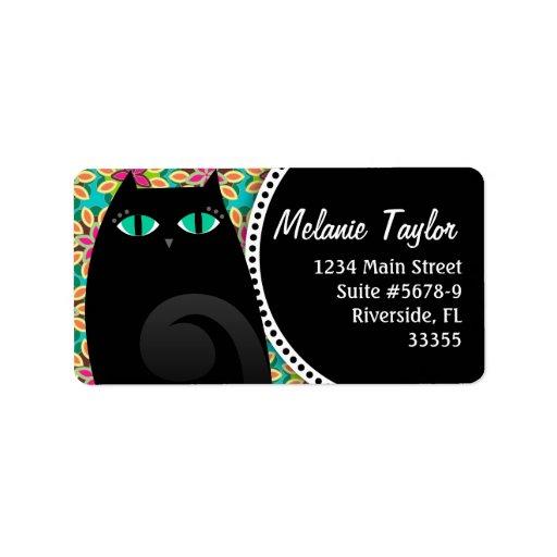 Negro bonito del gatito y etiqueta floral etiqueta de dirección