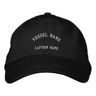 Negro bordado buque del casquillo de los capitanes gorra de beisbol
