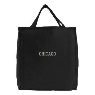 Negro bordado de la bolsa de asas de Chicago