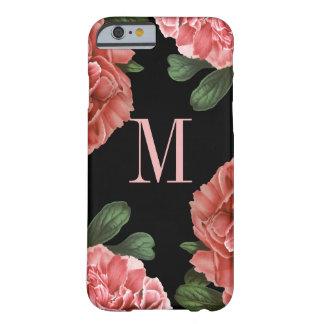 Negro botánico floral del caso el | del monograma funda de iPhone 6 barely there