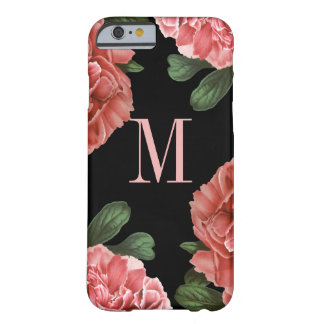 Negro botánico floral del caso el   del monograma funda de iPhone 6 barely there