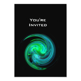 """Negro brillante del verde azul del VÓRTICE LIGERO Invitación 5"""" X 7"""""""