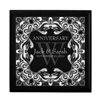 Negro+Caja de regalo blanca del aniversario de bod