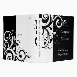 Negro + Carpeta reversa blanca del boda del