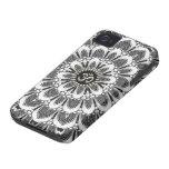 Negro+Casamata floral blanca del iPhone 4 de OM de iPhone 4 Cobertura