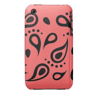 Negro/caso de Paisley del melocotón iPhone 3 Case-Mate Protector