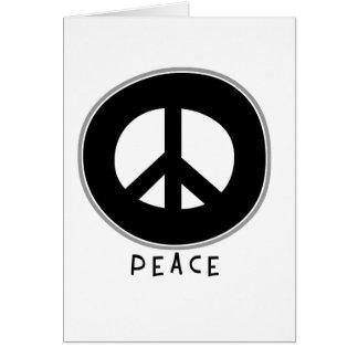 Negro casual del signo de la paz tarjeta de felicitación