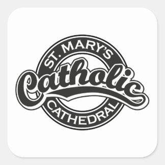 Negro católico de la catedral de St Mary Pegatinas Cuadradas