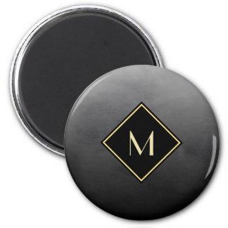 Negro cepillado elegante con el monograma simple imán redondo 5 cm