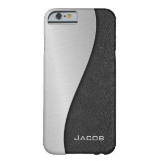 Negro cepillado elegante del metal y del cuero funda de iPhone 6 barely there