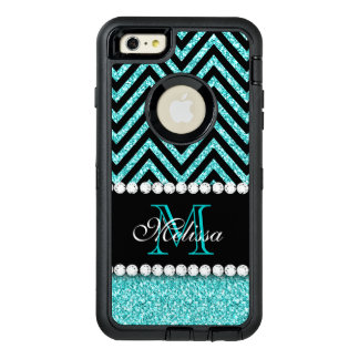 NEGRO CHEVRON DEL BRILLO DE LA AGUAMARINA CON FUNDA OtterBox DEFENDER PARA iPhone 6 PLUS