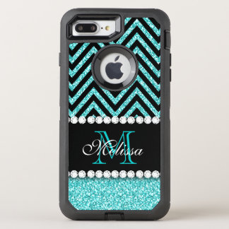 NEGRO CHEVRON DEL BRILLO DE LA AGUAMARINA CON FUNDA OtterBox DEFENDER PARA iPhone 7 PLUS