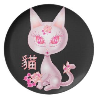 Negro chino BG del arte del gato de Kawaii Plato Para Fiesta