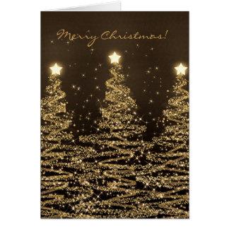 Negro chispeante elegante de los árboles de la tarjeta de felicitación