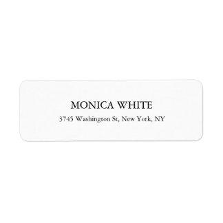 Negro clásico elegante elegante y blanco etiqueta de remitente