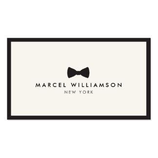 Negro clásico/marfil del logotipo de la pajarita d plantillas de tarjeta de negocio