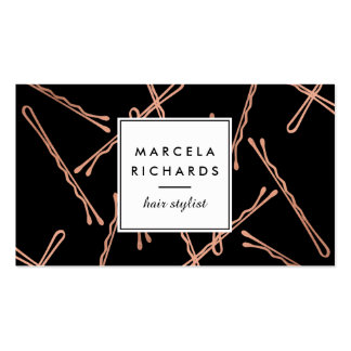 Negro color de rosa elegante del estilista de las tarjetas de visita