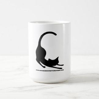 Negro común del logotipo de los gatos taza