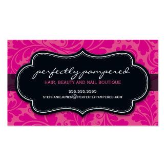 Negro con clase del rosa del fuschia del flourish  plantillas de tarjeta de negocio