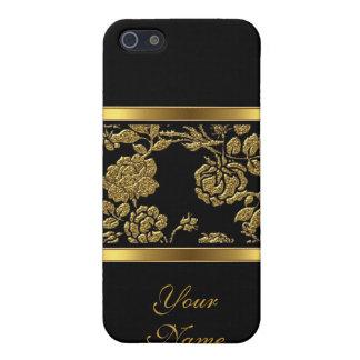 Negro con clase elegante 2 florales del oro iPhone 5 fundas