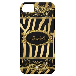 negro con clase elegante de la cebra del oro del i iPhone 5 coberturas
