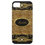 negro con clase elegante del leopardo del oro del  iPhone 5 coberturas
