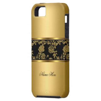negro con clase elegante del oro del iPhone 5 flor iPhone 5 Fundas