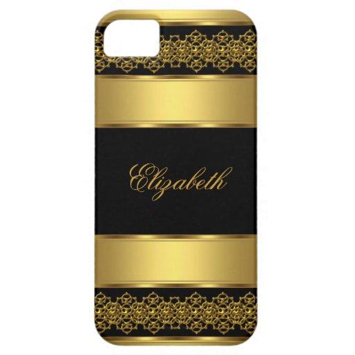negro con clase elegante del oro del iPhone 5 Funda Para iPhone SE/5/5s