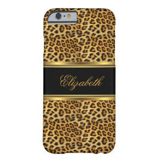 Negro con clase elegante del oro del leopardo funda para iPhone 6 barely there