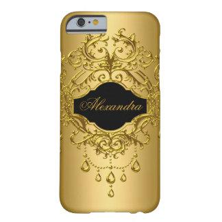 Negro con clase elegante del oro floral funda de iPhone 6 barely there