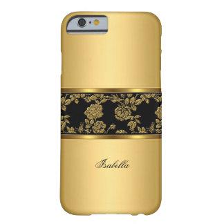 Negro con clase elegante del oro floral funda para iPhone 6 barely there