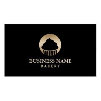 Negro con clase y oro de la panadería de la tarjetas de visita
