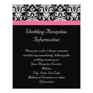 Negro con damasco rosado de la pasión tarjetas informativas