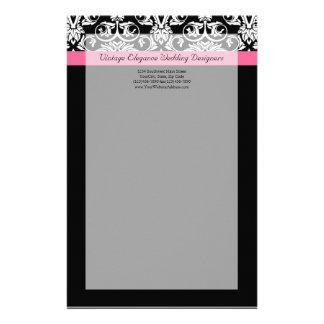 Negro con damasco rosado de la pasión papelería de diseño
