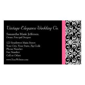 Negro con damasco rosado de la pasión tarjeta de visita