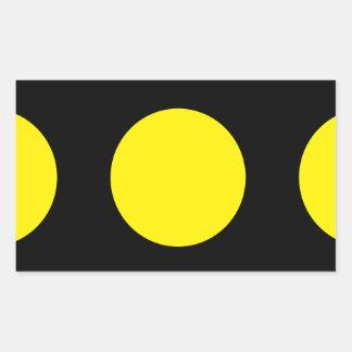 negro con diseño amarillo del círculo pegatina rectangular